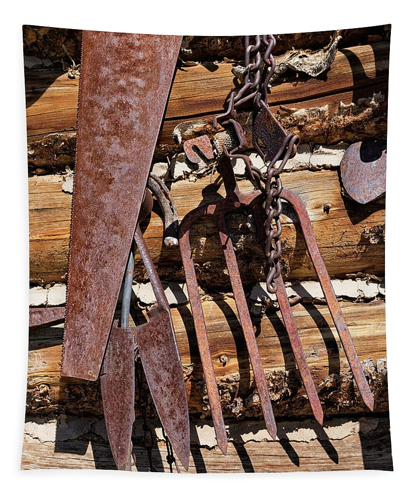 Rusty Tools Tapestry featuring the photograph Sharp Rusty Objects by Kathleen Bishop