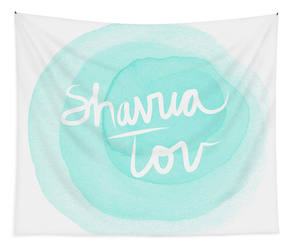 Shavua Tov Tapestry featuring the painting Shavua Tov Blue And White- Art By Linda Woods by Linda Woods