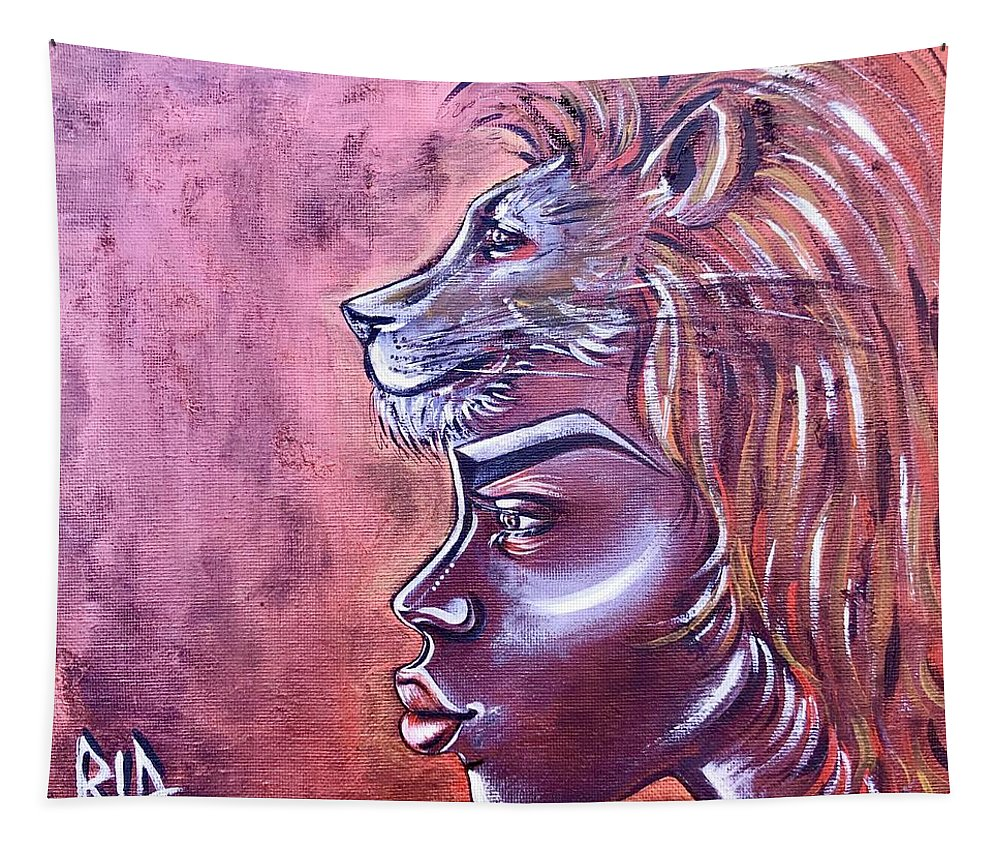 Lion Tapestry featuring the painting She Has Goals by Artist RiA