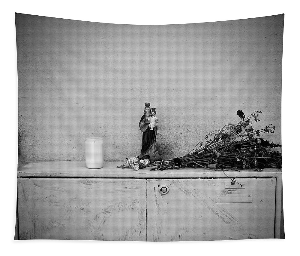 Black And White Tapestry featuring the photograph She Who Protects And Helps by Karen Stahlros