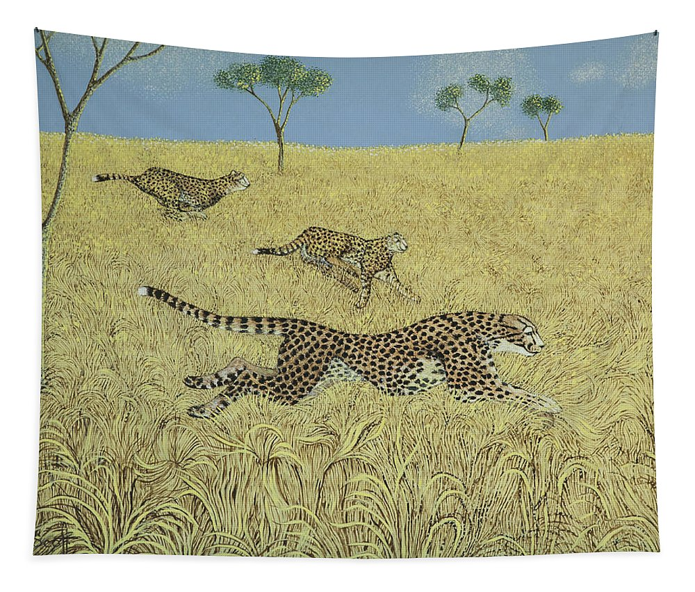Cheetah Tapestry featuring the painting Sheer Speed by Pat Scott