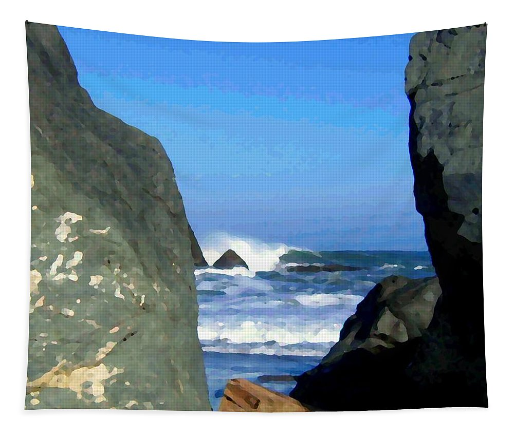 Seascape Tapestry featuring the photograph Sheltered From The Wind by Will Borden