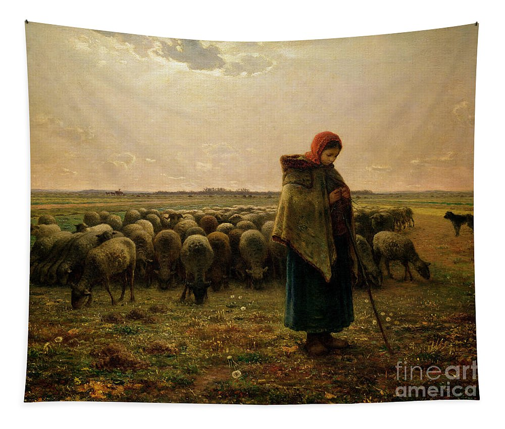 Shepherdess Tapestry featuring the painting Shepherdess With Her Flock by Jean Francois Millet