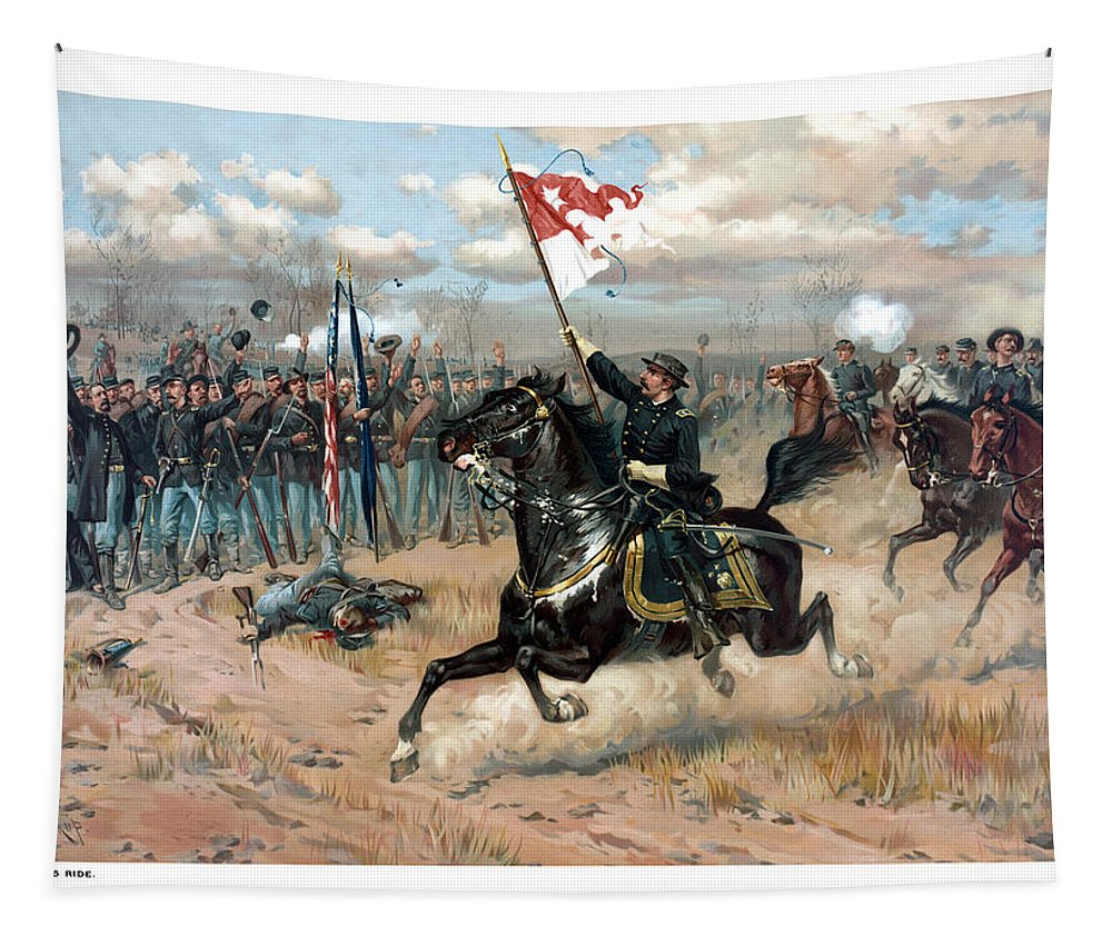 Sheridans Ride Tapestry featuring the painting Sheridan's Ride by War Is Hell Store