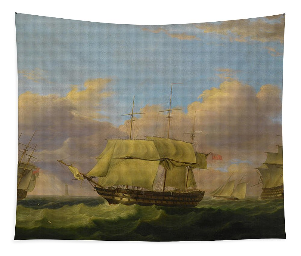 Shipping Off The Eddystone Tapestry featuring the painting Shipping Off The Eddystone by Thomas Luny