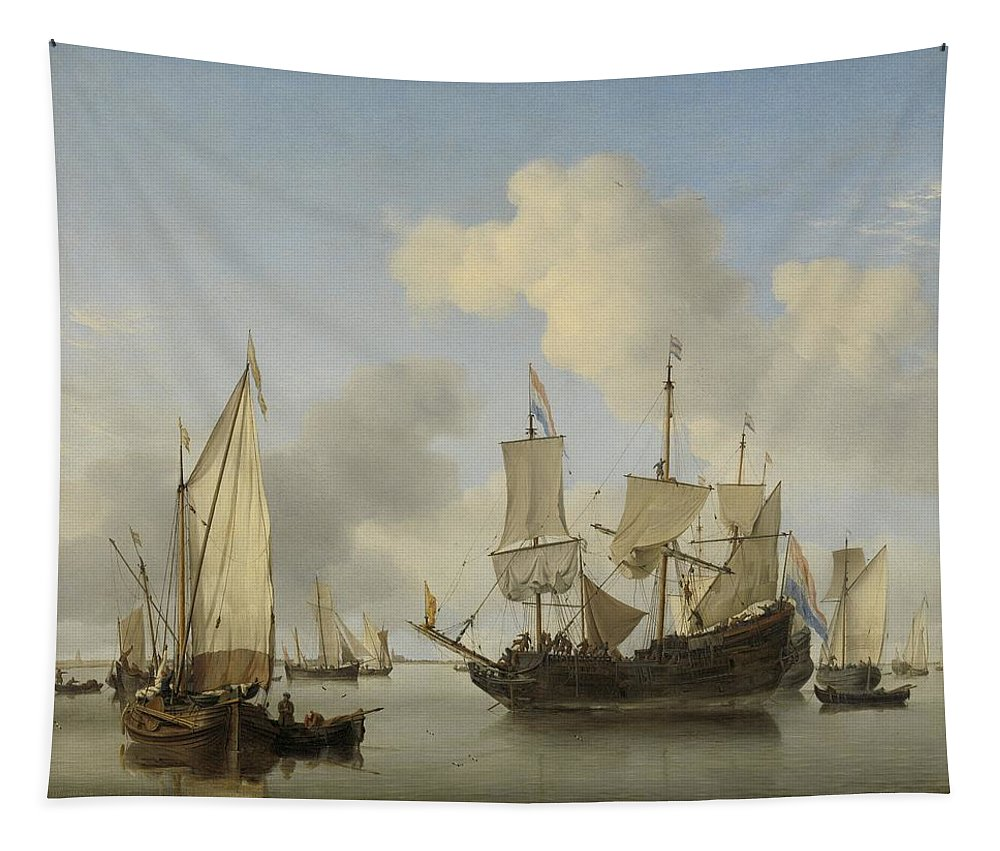 Ships At Anchor On The Coast Tapestry featuring the painting Ships At Anchor On The Coast Willem Van De Velde II C 1660 by R Muirhead Art