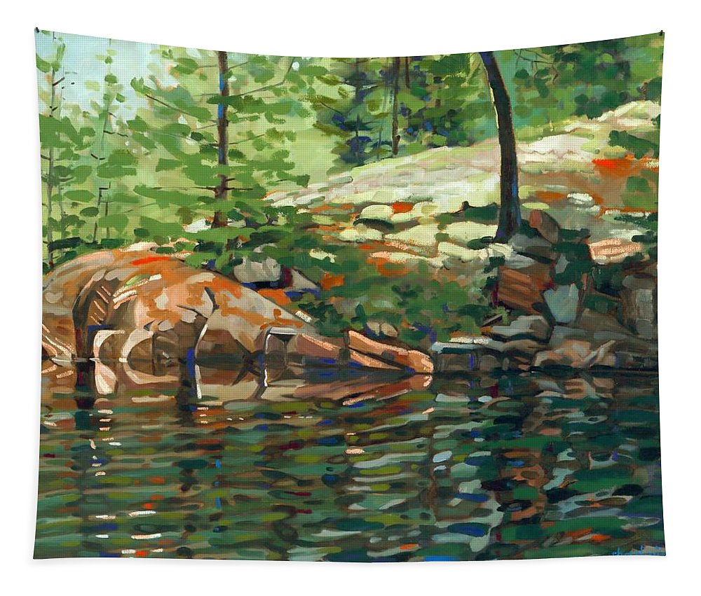 525 Tapestry featuring the painting Shoal Lake - Granite Shore by Phil Chadwick