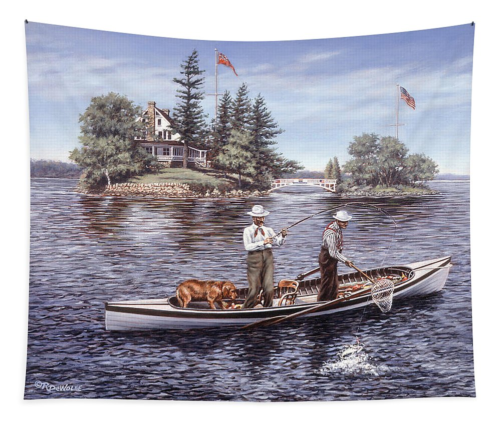 St. Lawrence Skiff Tapestry featuring the painting Shore Lunch On The Line by Richard De Wolfe
