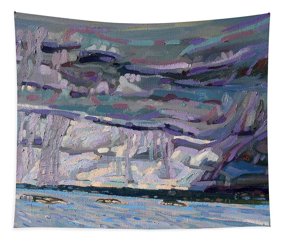 Tower Tapestry featuring the painting Shore To Shore Showers by Phil Chadwick