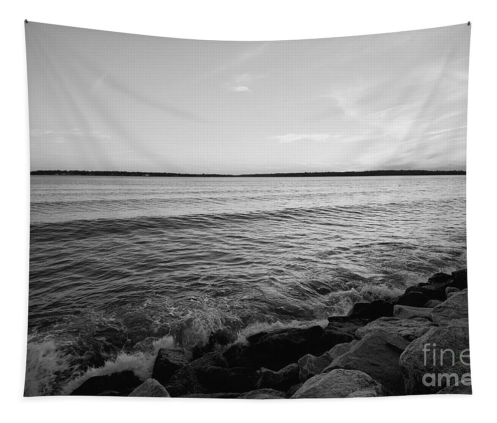 James River Tapestry featuring the photograph Shoreline Of Jamestown At Dusk by Rachel Morrison