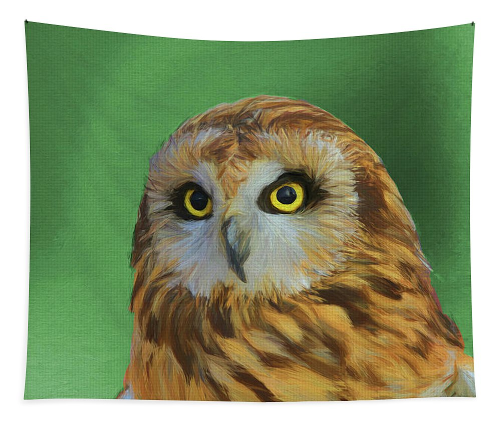 Short Eared Owl Portrait Tapestry featuring the painting Short Eared Owl On Green by Dan Sproul