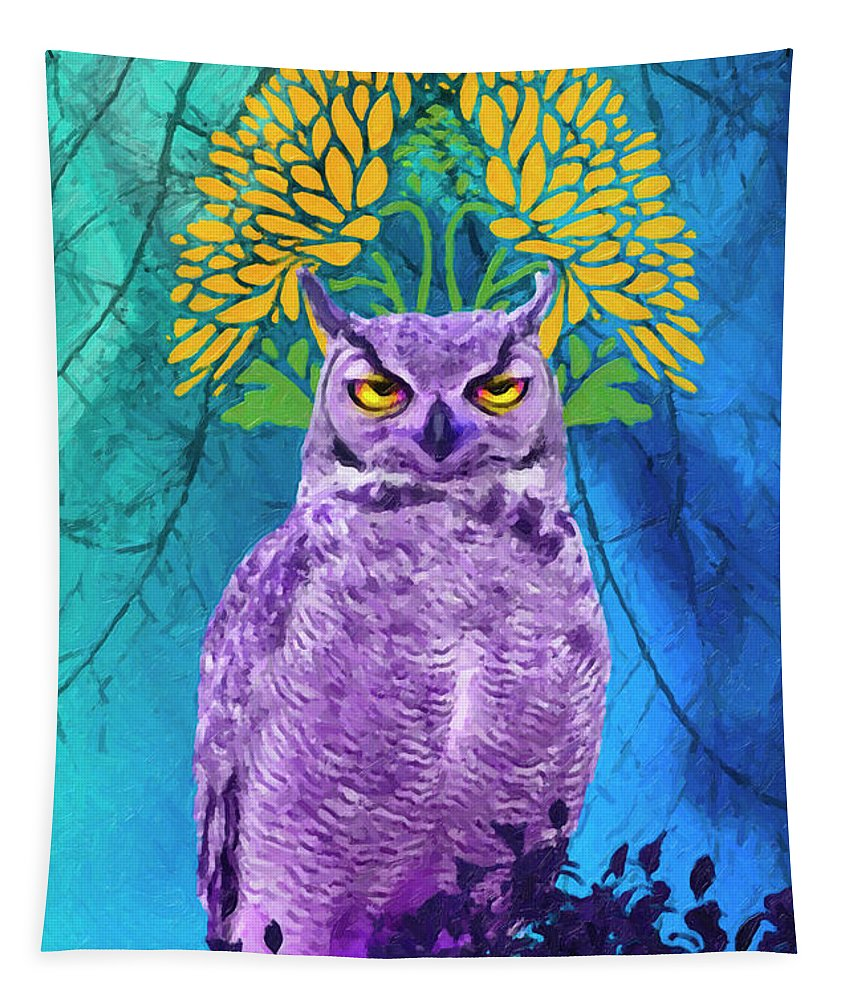 Owl Tapestry featuring the painting Owl At Night by Joaquin Abella