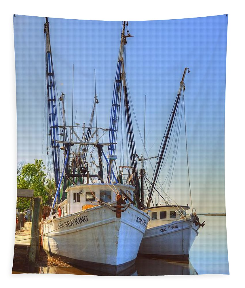 Shrimp Tapestry featuring the photograph Shrimp Boats by Linda Covino