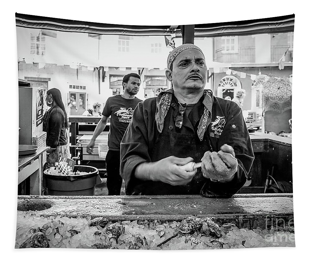 Man Tapestry featuring the photograph Shucking Oysters 2 - French Quarter- Bw by Kathleen K Parker