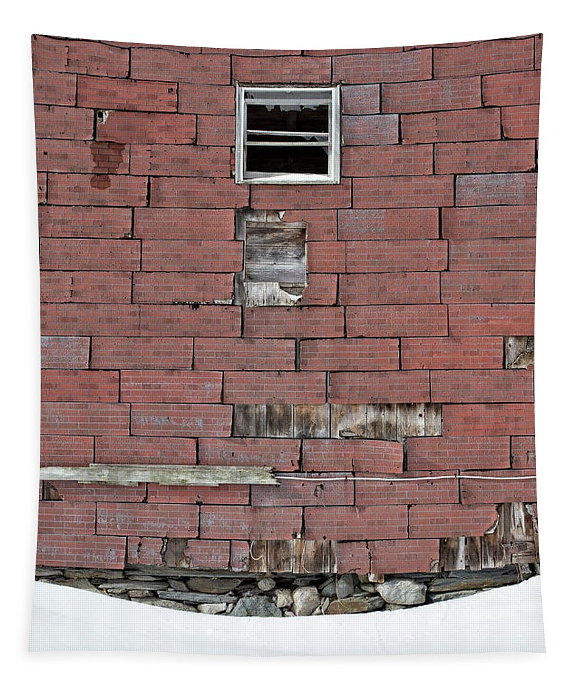 Abandoned Tapestry featuring the photograph Side Of An Abandoned Old Barn by Edward Fielding