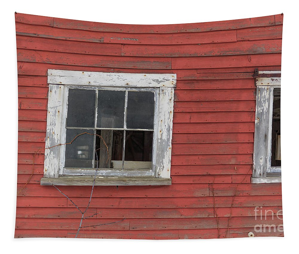 Red Tapestry featuring the photograph Side Of An Old Red Barn Quechee, Vermont by Edward Fielding