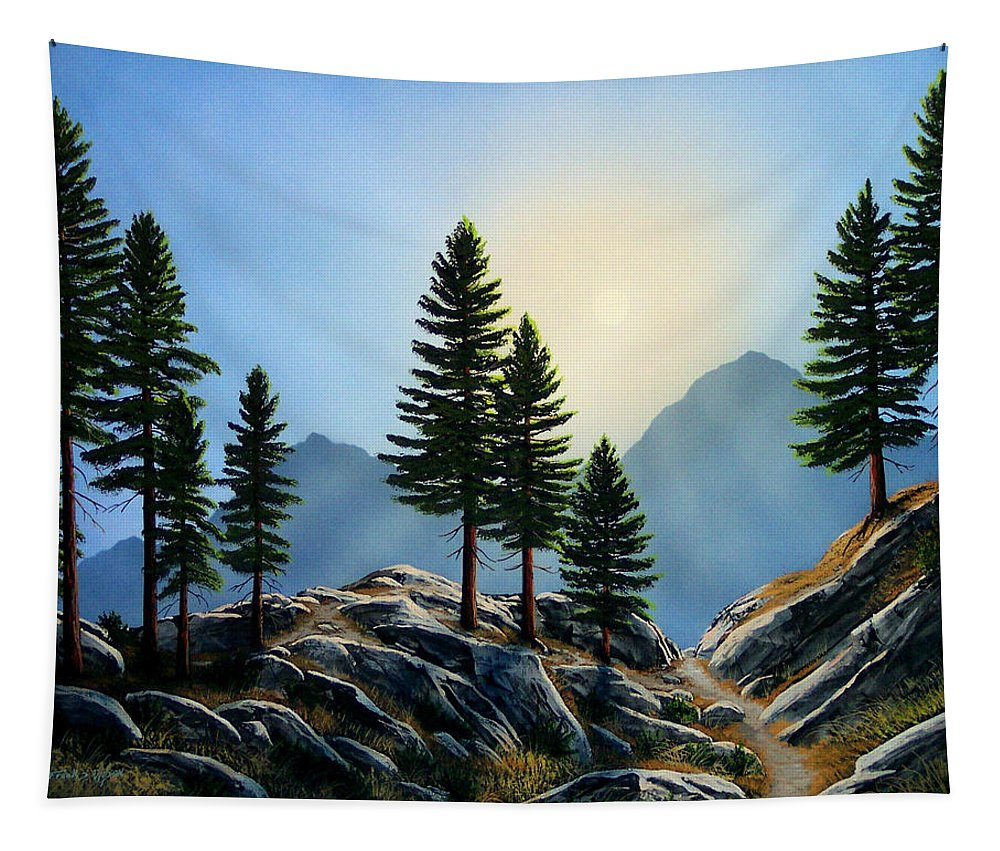 Landscape Tapestry featuring the painting Sierra Sentinals by Frank Wilson