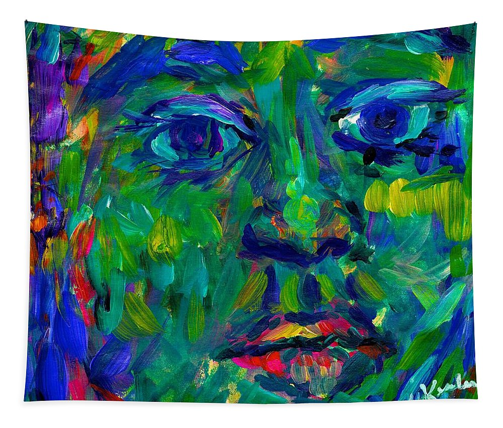 Face Tapestry featuring the painting Sifting by Kendall Kessler