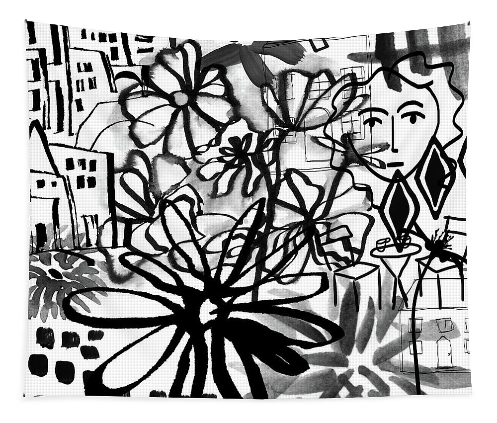 Black And White Tapestry featuring the mixed media Sightseeing 2- Art By Linda Woods by Linda Woods