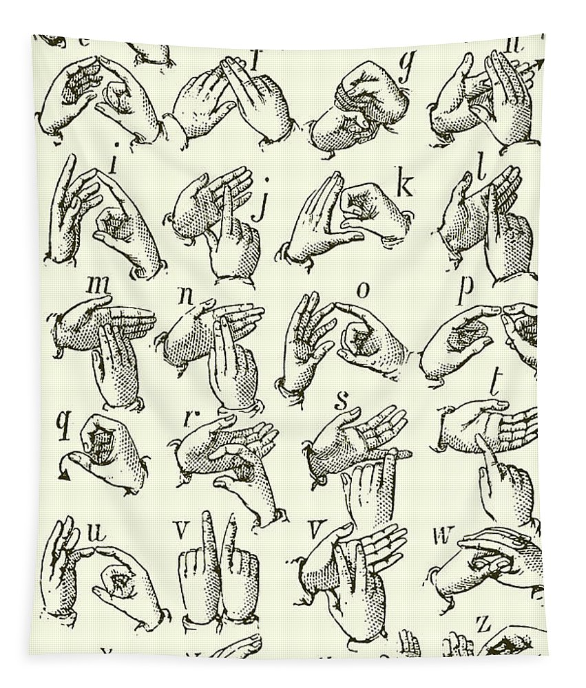 Sign Language Tapestry featuring the drawing Sign Language Alphabet by English School