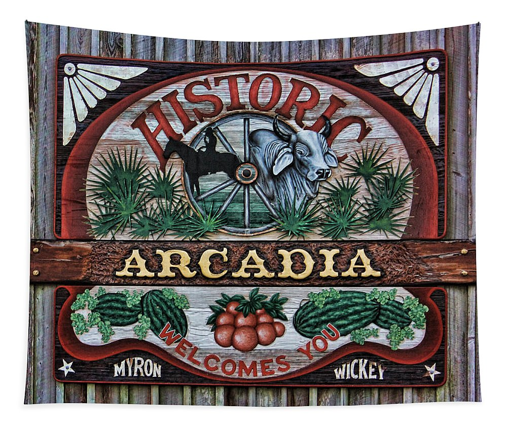 Arcadia Tapestry featuring the photograph Sign - Welcome To Arcadia by HH Photography of Florida
