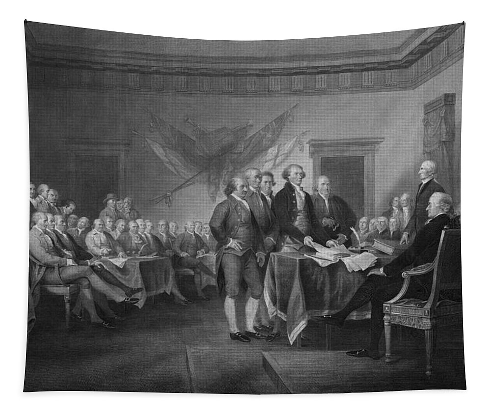 Declaration Of Independence Tapestry featuring the mixed media Signing The Declaration of Independence by War Is Hell Store