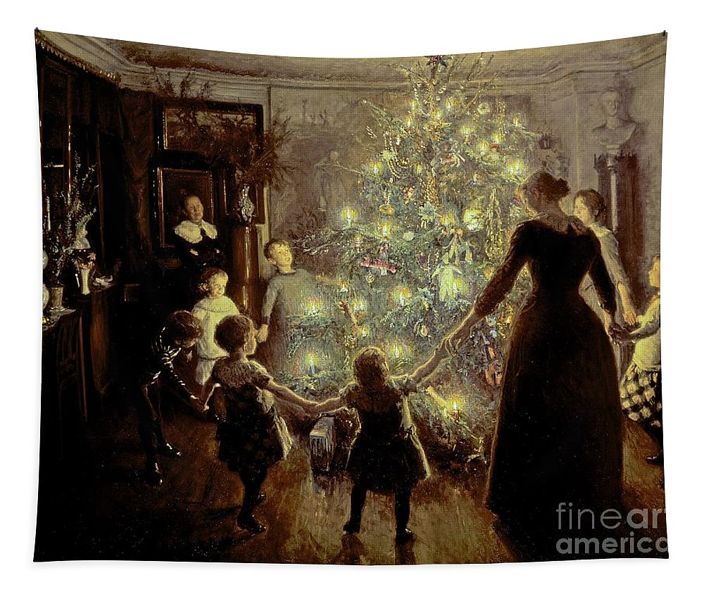 Xmas Tapestry featuring the painting Silent Night by Viggo Johansen