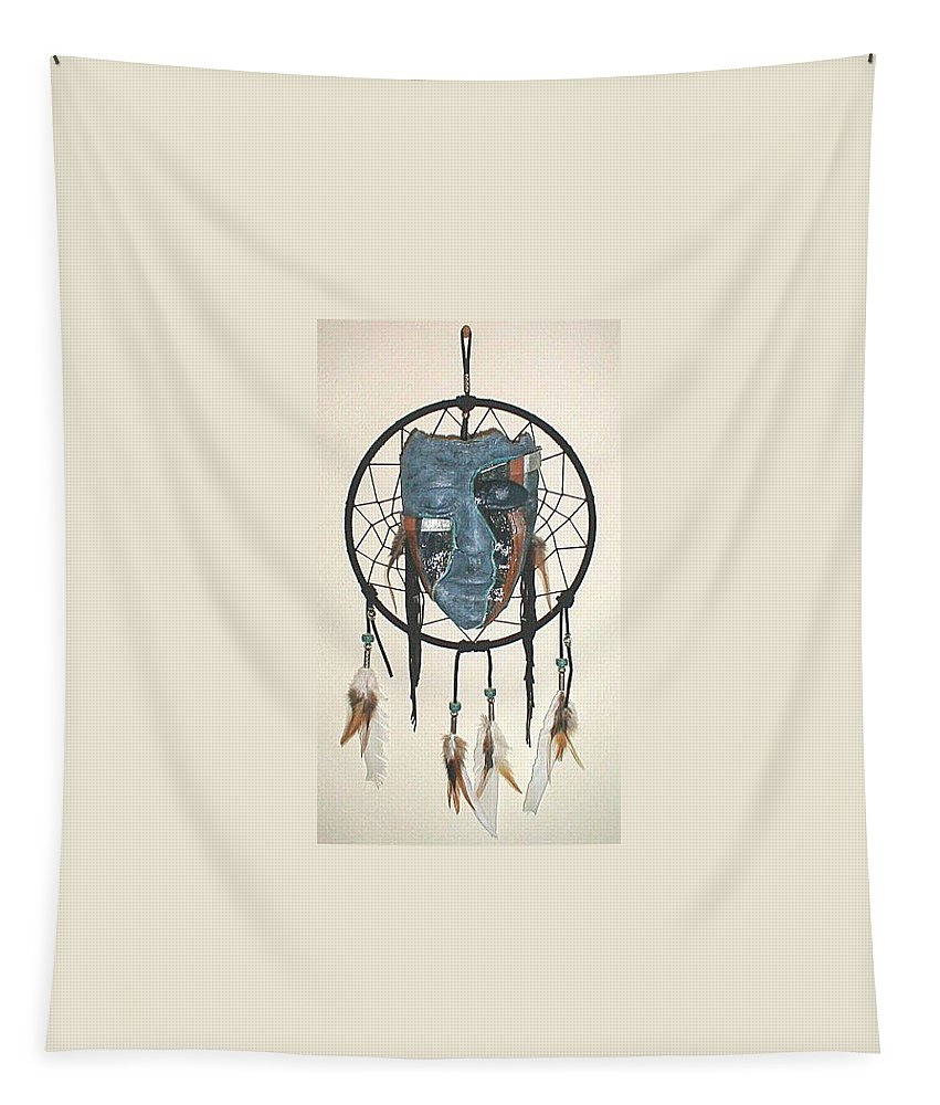 Ceremonial Tapestry featuring the mixed media Silent Weeping Native Lament by Vallee Johnson
