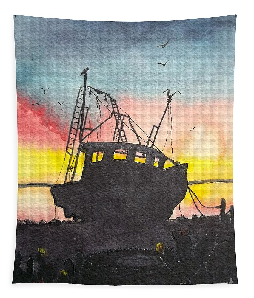 Shrimp Boat Tapestry featuring the painting Grounded Shrimp Boat by Don Hand