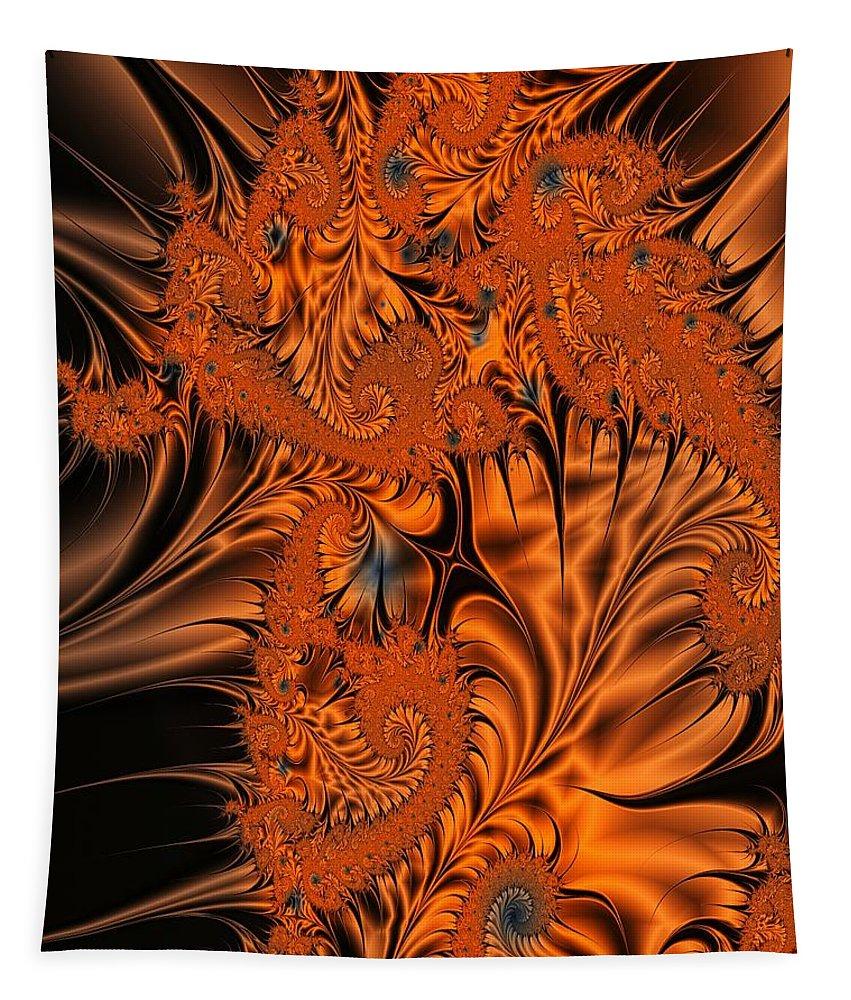 Silk Tapestry featuring the digital art Silk in Orange by Ron Bissett