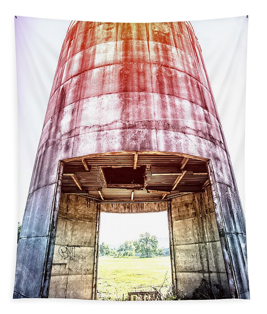 Vermont Tapestry featuring the photograph Silo Sunflare by Edward Fielding