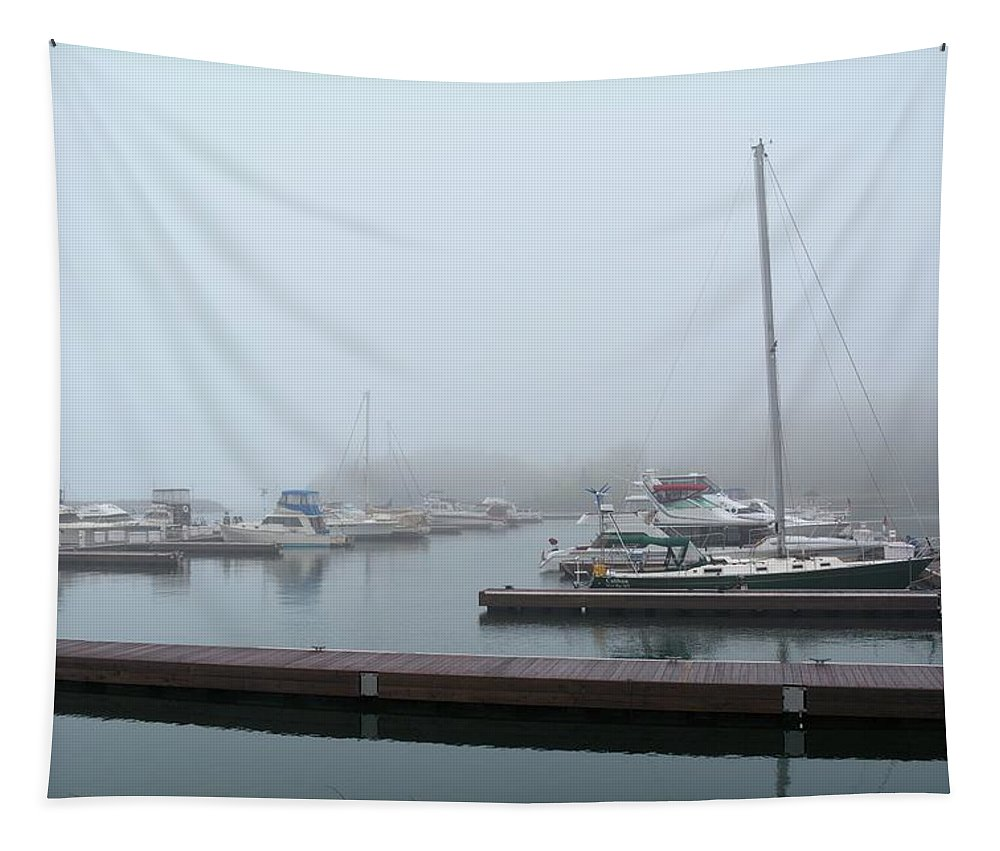 Sailboat Tapestry featuring the photograph Silver Bay Marina by Bonfire Photography
