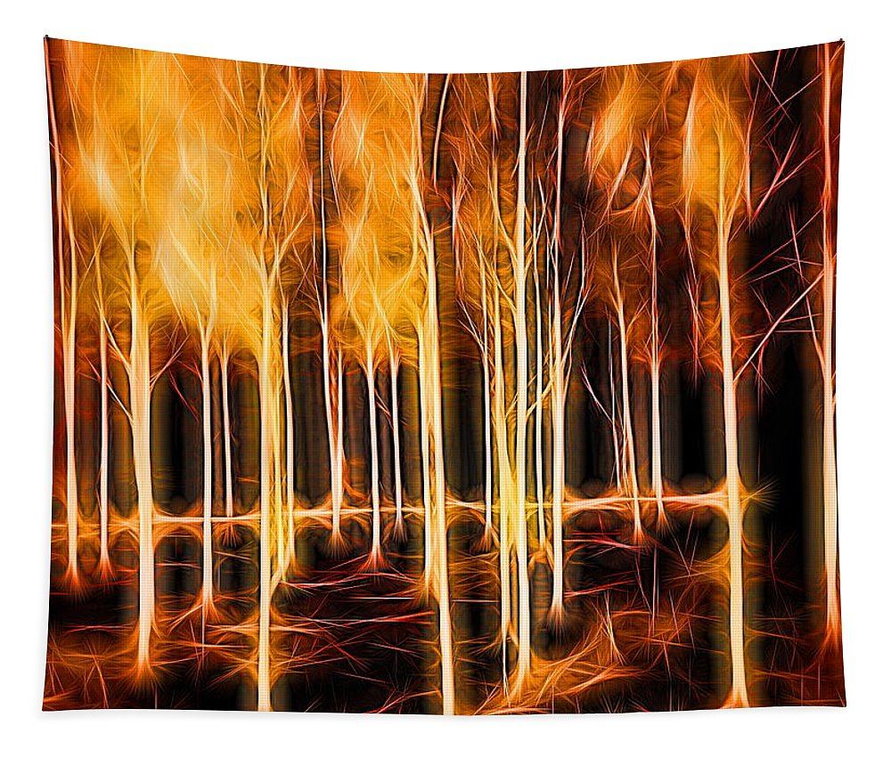 Silver Birch Tapestry featuring the digital art Silver Birches Flaming Abstract by Mo Barton