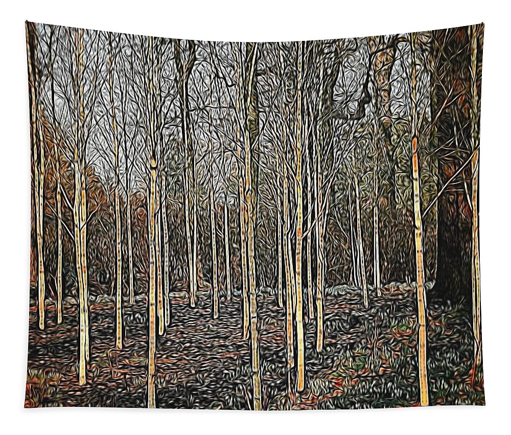 Silver Birch Tapestry featuring the digital art Silver Birch Winter Garden by Mo Barton
