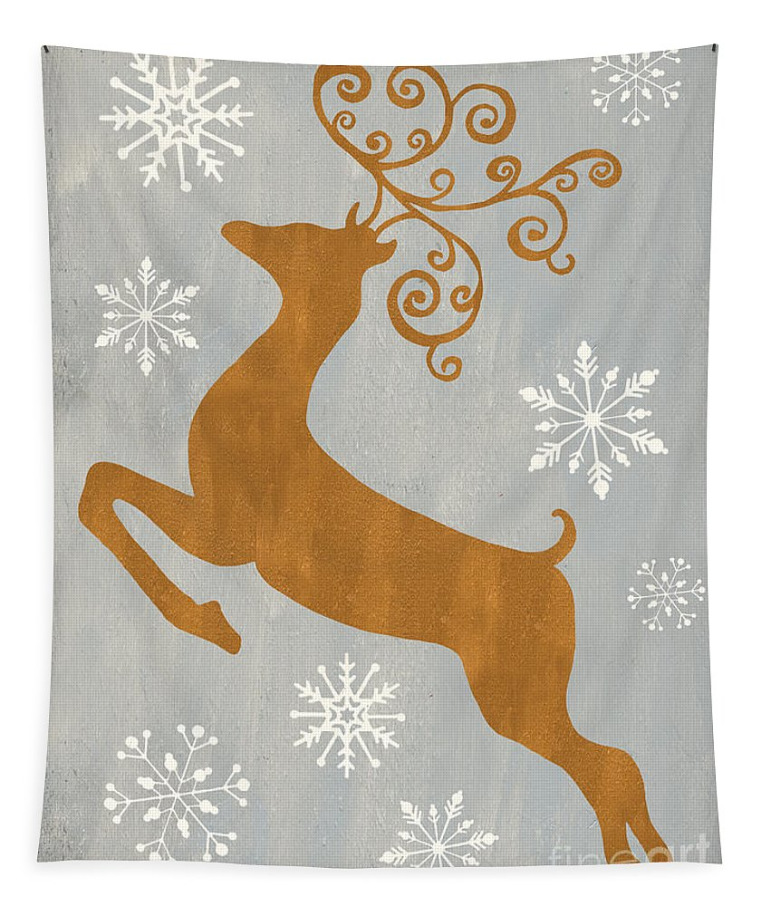 Presents Tapestry featuring the painting Silver Gold Reindeer by Debbie DeWitt