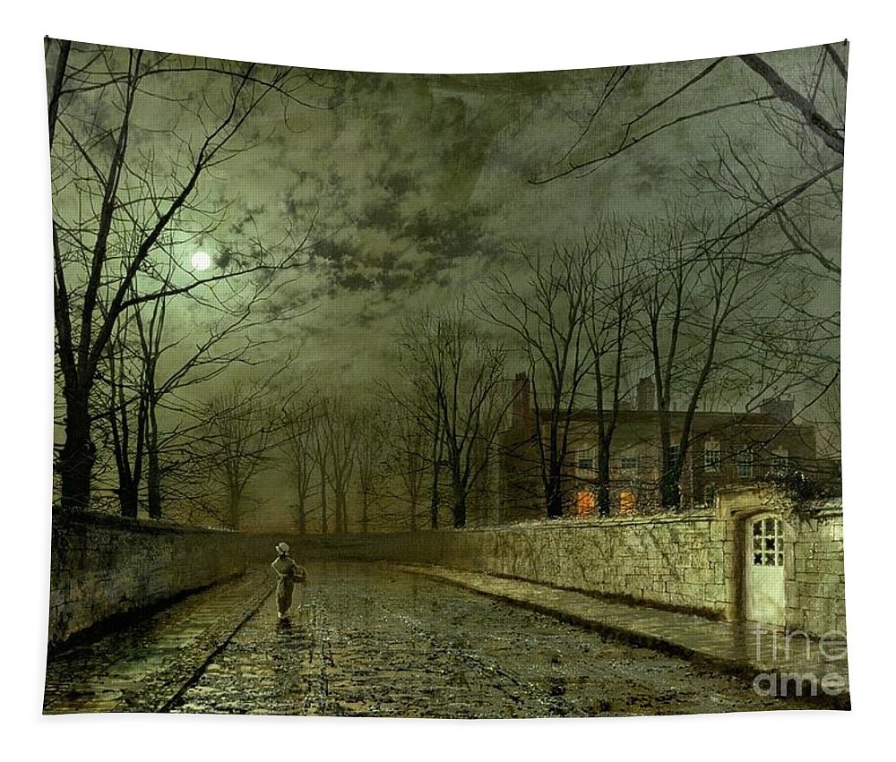 Silver Moonlight Tapestry featuring the painting Silver Moonlight by John Atkinson Grimshaw