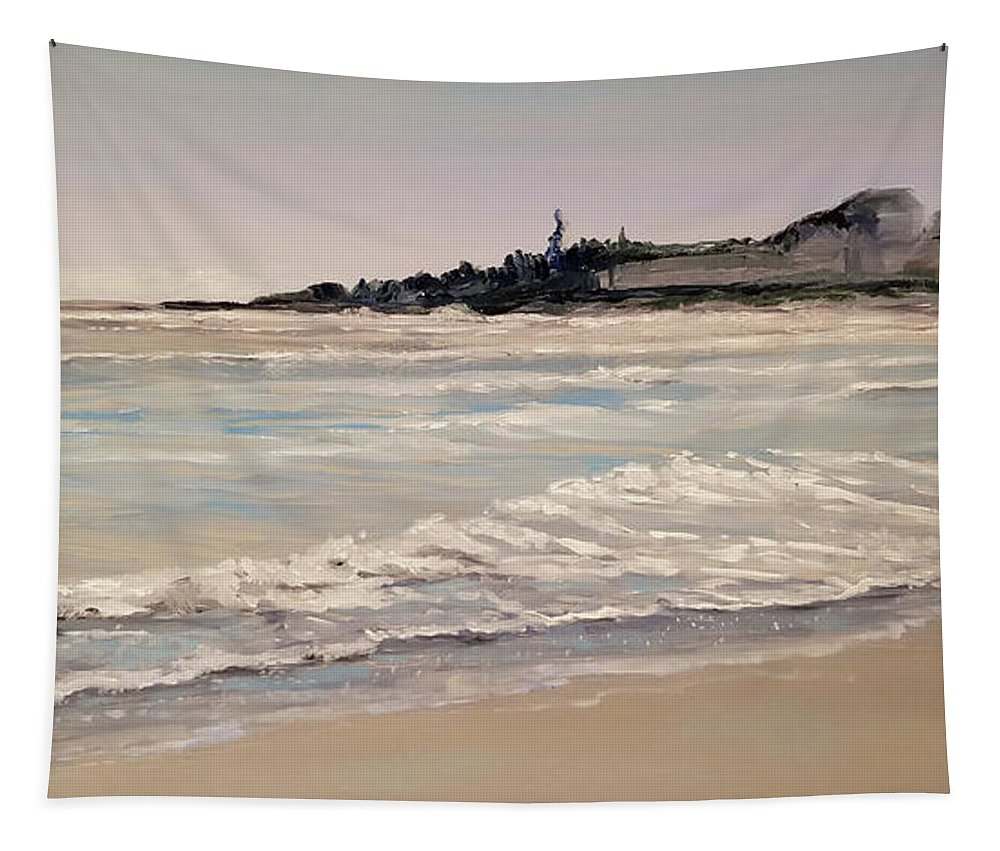 Ocean Tapestry featuring the painting Silver Surf by Susan Hanna