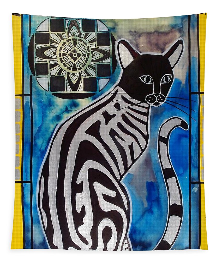 Cats Tapestry featuring the painting Silver Tabby With Mandala - Cat Art By Dora Hathazi Mendes by Dora Hathazi Mendes