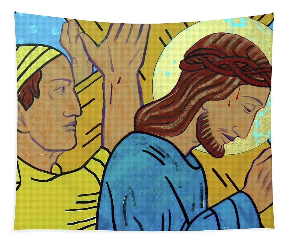 Simon Of Cyrene Tapestry featuring the painting Simon Helps Jesus by Sara Hayward