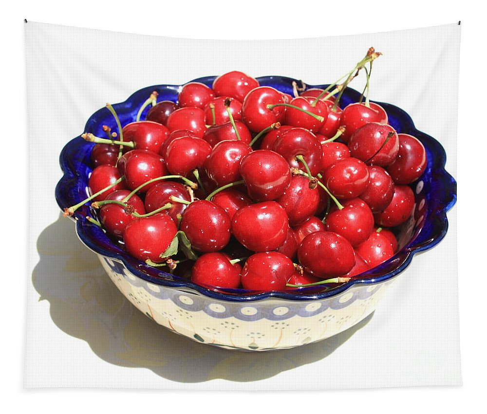 Cherries Tapestry featuring the photograph Simply A Bowl Of Cherries by Carol Groenen
