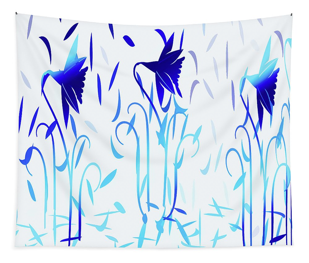 Abstract Tapestry featuring the digital art Simply Blue Dancing Flowers by Aimee L Maher ALM GALLERY