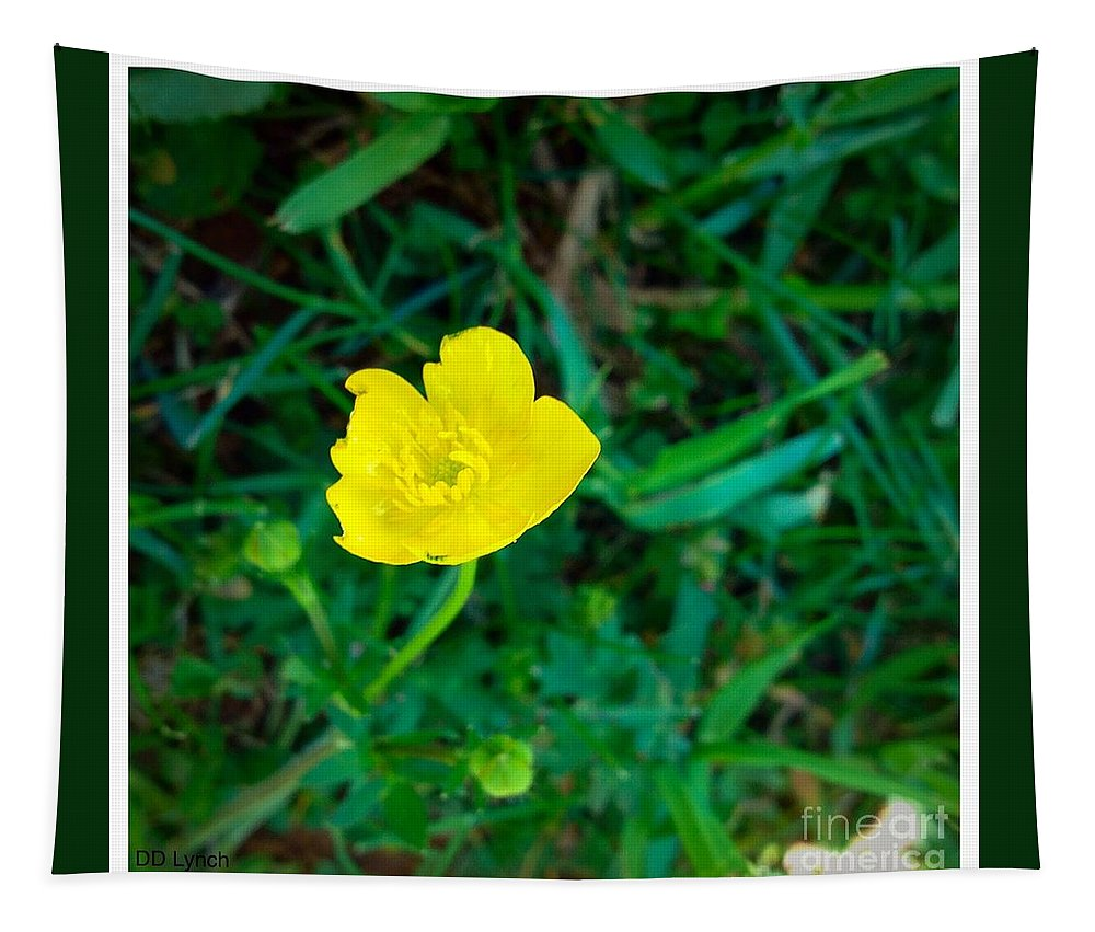 Yellow Tapestry featuring the photograph Single Yellow Buttercup by Debra Lynch