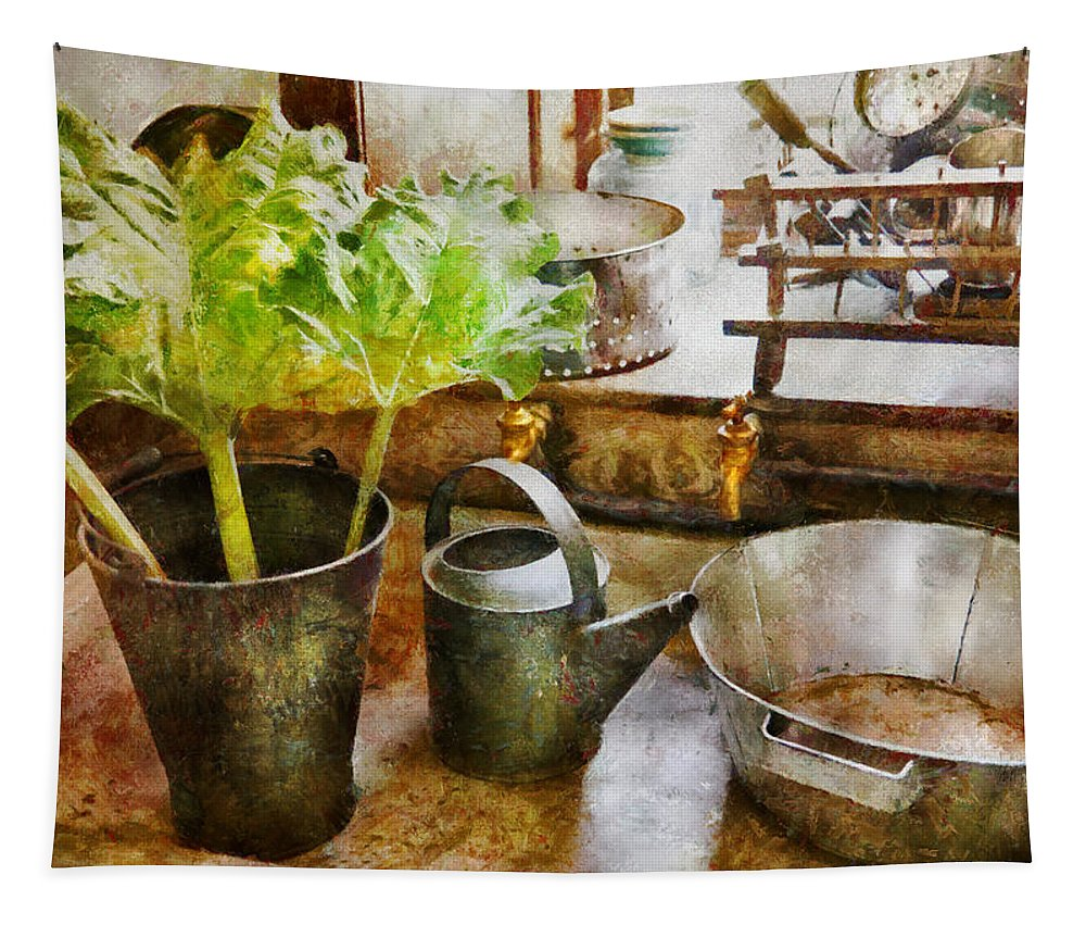 Suburbanscenes Tapestry featuring the photograph Sink - Eat Your Greens by Mike Savad