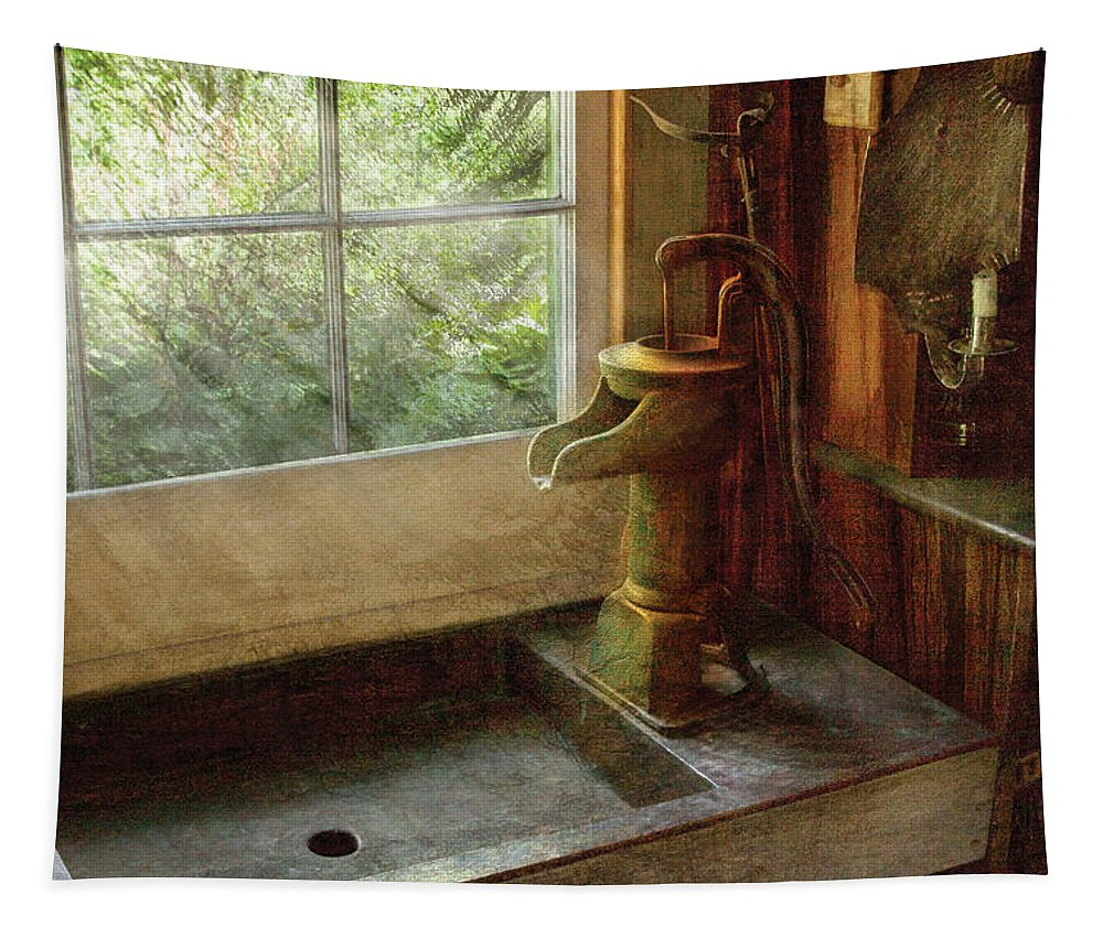 Savad Tapestry featuring the photograph Sink - Water Pump by Mike Savad