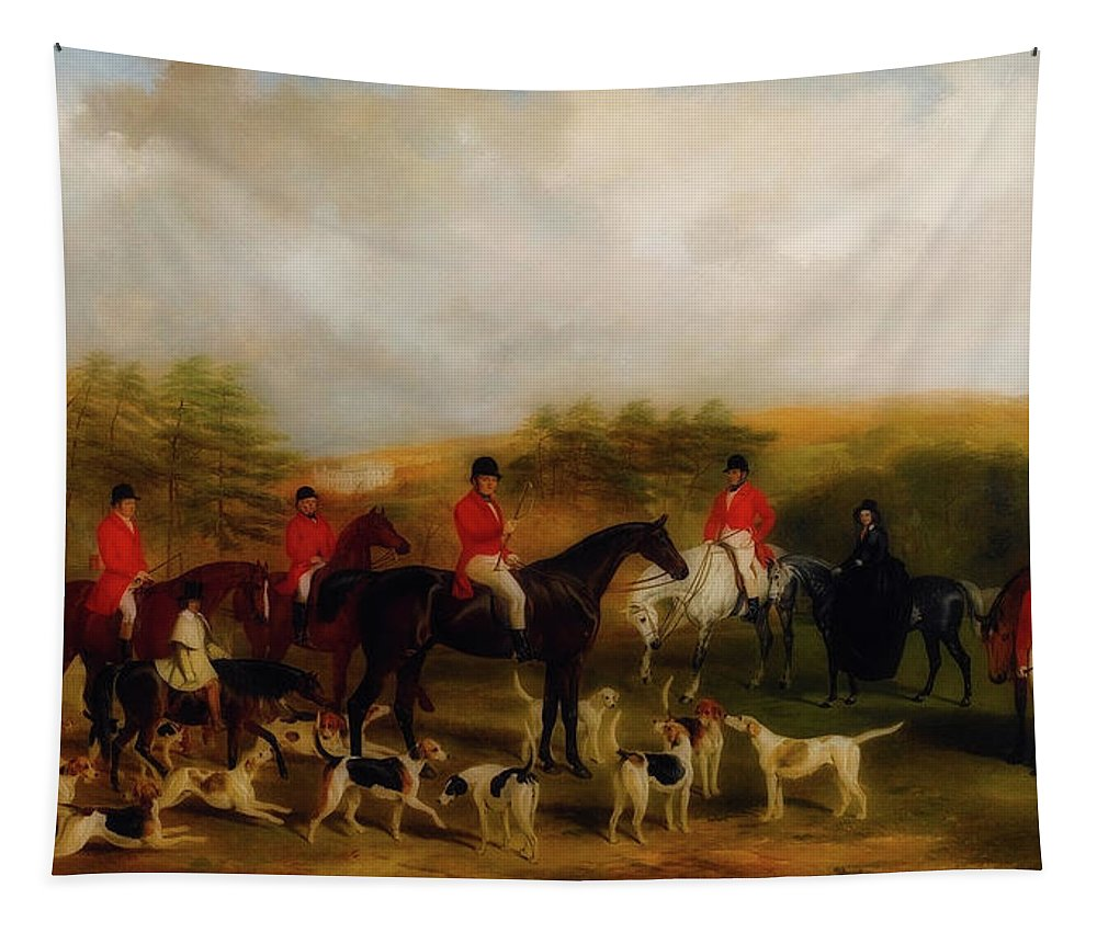 Painting Tapestry featuring the painting Sir Edmund Antrobus And The Old Surrey Fox Hounds At The Foot Of by William Barraud