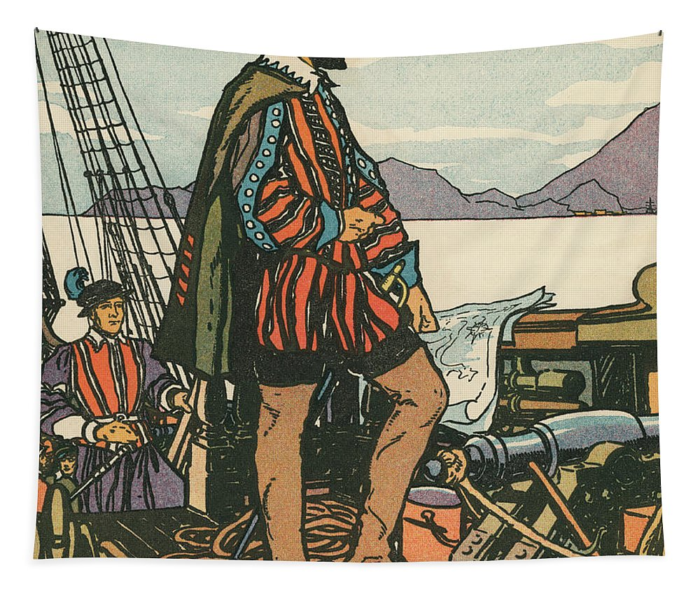 Francis Drake Tapestry featuring the painting Sir Francis Drake On His Ship by American School