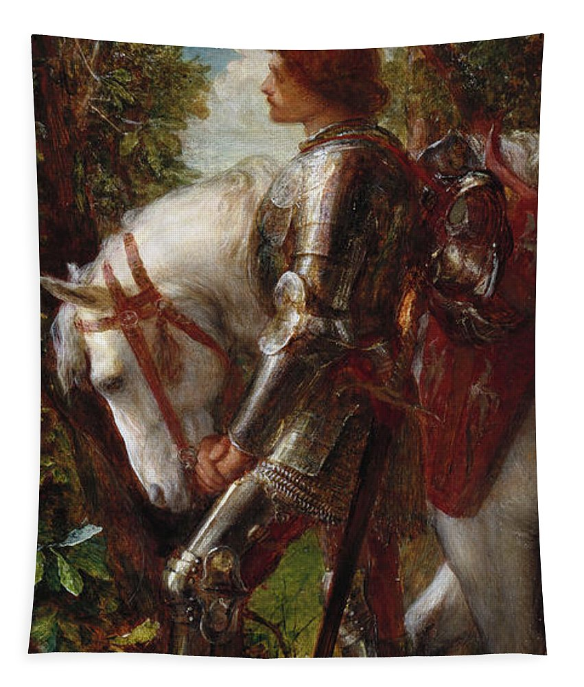 Sir Galahad Tapestry featuring the painting Sir Galahad by George Frederick Watts