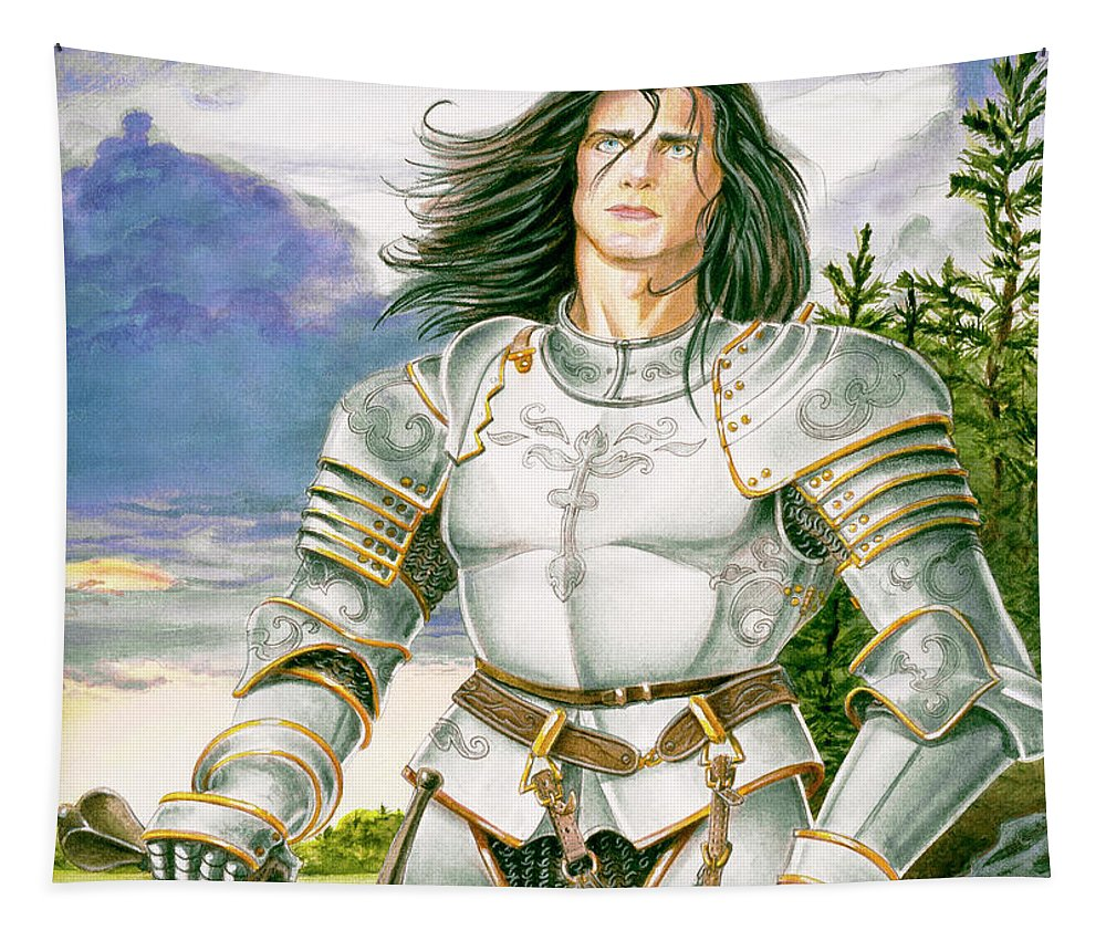 Swords Tapestry featuring the painting Sir Lancelot by Melissa A Benson