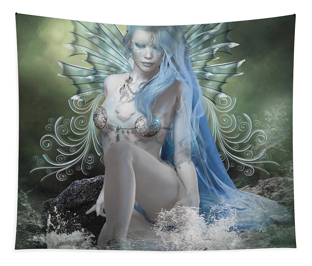 Fantasy Tapestry featuring the digital art Sitting In Silence by Ali Oppy