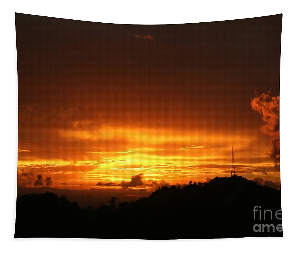 Sexy Tapestry featuring the photograph Sizzling Sunset by The Art of Alice Terrill